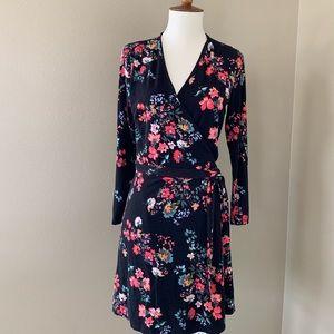 Black Loft petite floral long sleeve wrap dress